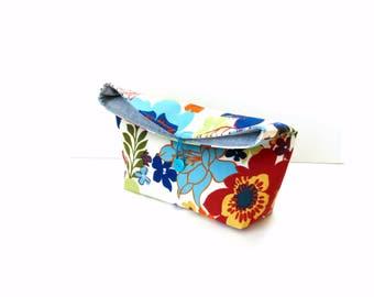 Fold over clutch purse, bold flower pattern, medium weight cotton button closure, blue red orange, pouch bag, handbag, gift under 20