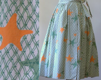 Wrap Skirt Vintage 1950s Skirt Full Pleated Skirt 1950s Clothing 50s Clothes Swing Skirt Green Cotton Summer Clothing Mid Length XS SM Small