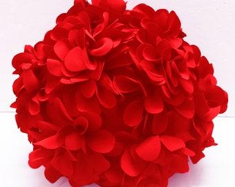 Red flower pillow round pouf circular fibre pillow nursery decor baby pillow sofa pillow bedroom decor wedding home decor gift