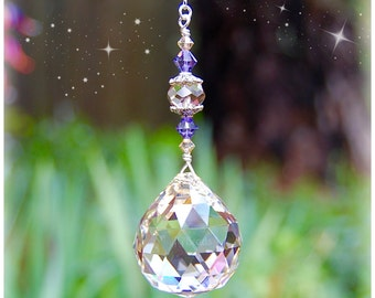 Purple Gold Crystal Ball Suncatcher, Rearview Mirror Car Charm, Light Pull, Fan Pull, Tanzanite and Golden Hanging Prism