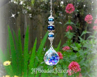 Iris Blue Crystal Suncatcher, Rearview Mirror Car Charm, Window Prism, Rainbow Maker, Car Bling