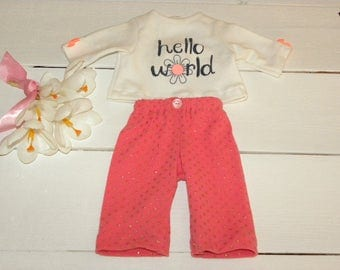 Polka Dot Pants and Cream Coloured T shirt - 16 - 17 inch doll clothes