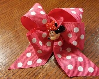 Boutique Custom Made OOAK Pink Dotted Minnie Mouse Ribbon Hairbow