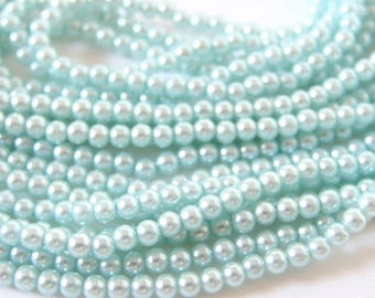 Robin's Egg Blue, Aqua 3mm Japan Glass faux Pearls, 60 Inch Strand