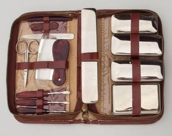 Vintage Travel Kit, Men's or Women's Grooming Kit, Leather, Western German