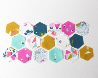 Tiny Mini English Paper Piecing 96 Hexagon Fabric and Paper, Dashwood Fabric.