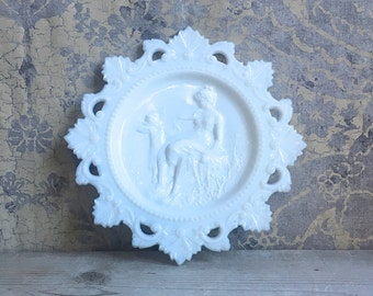 Westmoreland Cupid And Psyche Milk Glass Plate Ornate Rim