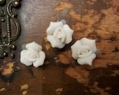 White Porcelain Ceramic Rose  Set of 3  Crazy Quilt Collage Embellishment