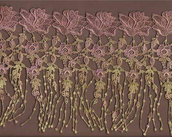 Hand Dyed Venise Lace Drippy Cottage Rose   Vintage Aged Rose