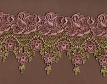 Hand Dyed Venise Lace Victoriana  Vintage Aged Rose