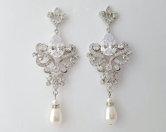 Wedding Chandelier Earrings, Long Crystal Bridal Earrings, Bridal Jewelry, Cubic Zirconia, Vintage Style Pearl Drop Earrings, Sahara