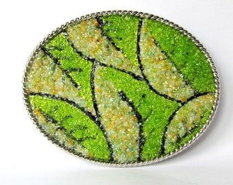 Woman's Art Belt Buckle with Stained Glass Leaves