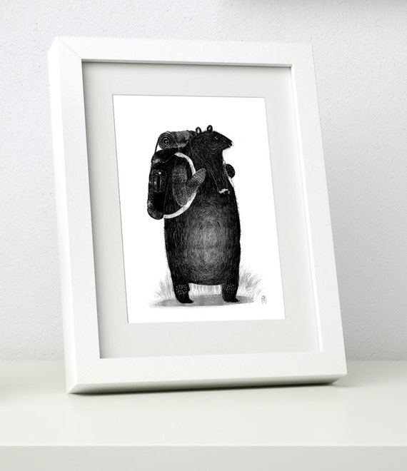 Backpack Bear - Mini Framed Print