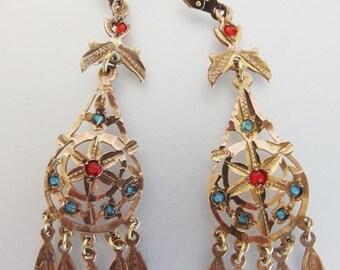 ON SALE Lovely Vintage 1970's Bohemian Brass & Glass Chandelier Earrings