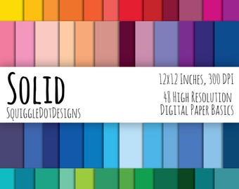Solid Color Digital Printable Background Paper Kit for Web Design, Crafts, and Scrapbooking Set of 48 - Solid - Basics