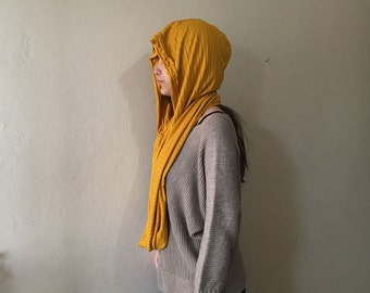 Hooded Infinity Scarf, Loop Scarf, Circle Scarf. Handmade Soft knit fabric womens oversize scarf