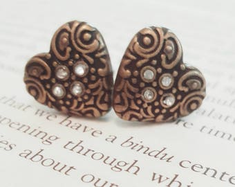 Metal and Rhinestone Heart Plugs Gauges Stretched Ears 10g 2.5mm, 8g 3.2mm, 6g 4mm  p29