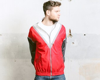 Mens Lightweight BOMBER Jacket . Vintage 80s Bold Geometric Chevron Print Cotton Jacket 90s Grunge Outerwear Oversized Red . size Large L