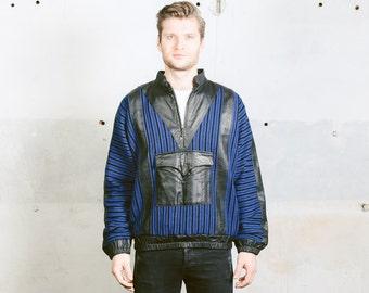 Men's Leather Jacket . Sweater Smock Jacket Outerwear Coat Blue Black 80s Anorak Jacket . size Large L
