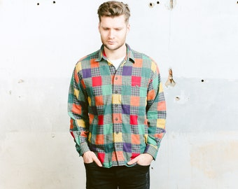 Flannel Shirt . Plaid Shirt Vintage 90s PATCHWORK Mens Shirt SOUTHWESTERN 1990s Green Shirt Button Down Shirt Hipster . size Large L