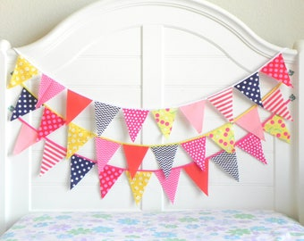 Coral and Navy, Garland, Fabric Garland, Garland Banner, Nautical Bunting, Navy and Pink, Nautical Baby Shower, Nautical Garland, Nursery