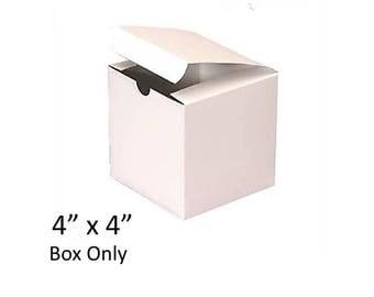 """White Gift Boxes 4"""" x 4"""" - Bulk 25 Boxes - 4 inch Premium White Glossy Box, Groomsmen's Gift Boxes"""
