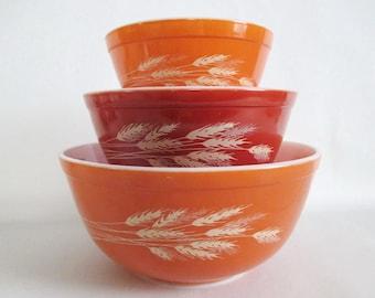Set of 3 Pyrex Autumn Harvest Wheat Mixing Bowls Vintage 401 402 403