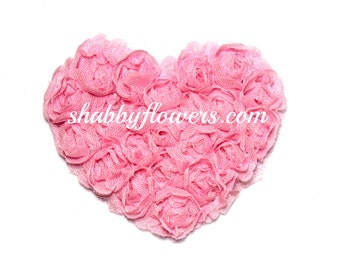 Shabby Chiffon Rosette Heart Trim, Shabby Flower Heart, Baby Heart Headband, wholesale shabby heart, WHITE