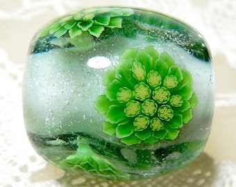 Japanese Butterbur Sprout in the Snow Satake Glass Lampwork Round Flower Bead sra