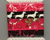 dachshund Christmas wiener dog  ribbon  3.25 wide fabric ribbon,hand frayed ,crazy quilt,cotton gift wrap trim card making 1264 37