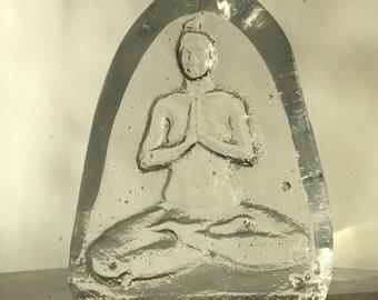 Glass yoga art prism bas relief nude figure sculpture full lotus buddha woman prayer altar piece yogini meditation