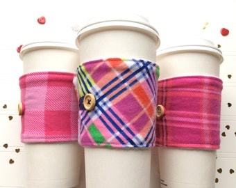 Coffee Cup Cozy, Coffee Cup Sleeve, Cup Cozy, Cup Sleeve, Reusable Coffee Sleeve - Valentine Cozy Flannel Plaid [73-75]