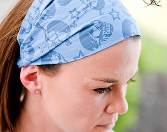 Headband Skull, Blue Hair Band, Skull & Crossbone, Pirate Head Wrap, Girl's Headband, Skull Bandana, Fun Headwrap (#4204) S M L X