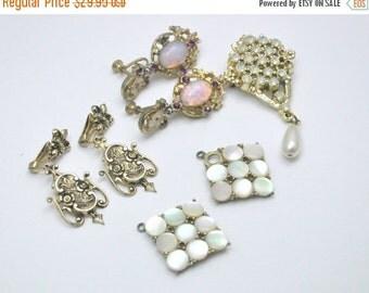 Vintage Jewelry Destash Lot  Rhinestone Brooch Pearl Earrings For Repair or Repurpose