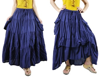 2 In 1 Take Me to Your Heart...Steampunk Short Front/ Long back Tiered Dark Navy Blue Skirt With 2 Roomy Pockets