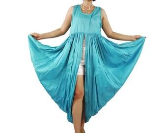 Butterfly - Boho Chic Funky Blue Light Cotton Lawn Side Drape Long Tanktop Tunic