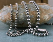 Sterling Silver 2mm, 3mm 3.2mm SOLID Ball Bead Chain Artisan Oxidized Bright Shiny Rustic .925 Sterling Silver Chain for Charms Pendant