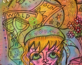 Hippie Art, Girl With The Crooked Smile, Hippie Chick,  Peace Prayer Flag, Peace Love Art
