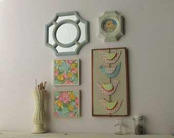 home decor - a 5 piece wall collage - Flight of Fancy - colorful flair