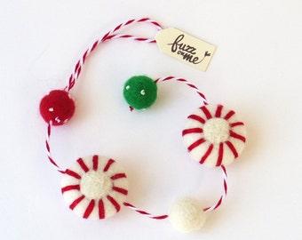 Christmas decor, felt peppermint garland (short) Needle felted Xmas candies and felt balls, natural material wool ornament