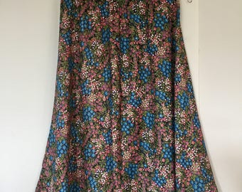 Vintage 1980s Floral Skirt small
