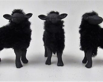 "Doll House Scale Bottle Fed Black  Lambs 2"" Tall  1"