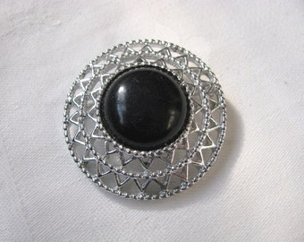 Vintage JET SET Black & silver geometric brooch pin Sarah Coventry