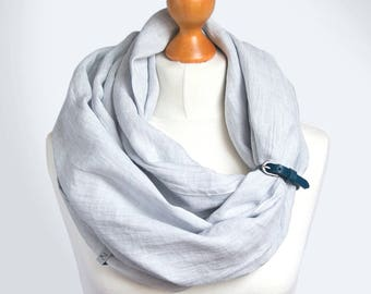LINEN Infinity Scarf tube scarf with leather strap, natural linen scarf, gift ideas, infinity SCARF, natural linen scarf, nautical scarf