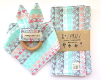 Modern Baby Bib - Burp Cloth - Teething Ring - Gift Set or Individual Sale - Mint and Coral Triangles - Baby Gift - Baby Shower Gift