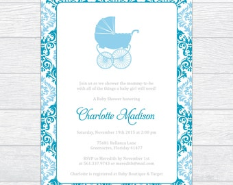 Magnificent Damask Baby Boy Shower Invitation, Personalized Baby Shower Invitation, Printable Baby Shower Invite, Elegance Baby Boy Shower