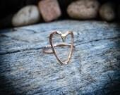 Rose Gold-filled Heart Ring, Primitive Heart Ring, Rose Gold Heart Stacking Ring, Minimalist Heart Ring, Sweetheart Ring, Heart Shaped Ring