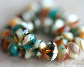 6x9mm Marbled Czech glass rondelles, Fire polished faceted donut beads, glass donut beads (20pcs) NEW