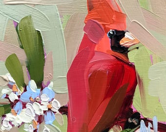 Cardinal no. 203 Original Oil Painting by Angela Moulton 6 x 6 inches