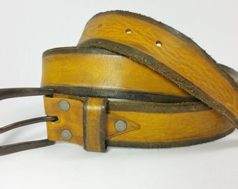 Woman's Belt, Unisex Belt, Genuine Leather, Yellow Belt, Unique Design, Art Leather, Buckle Belts, Men's Leather Accessories, Design Belts